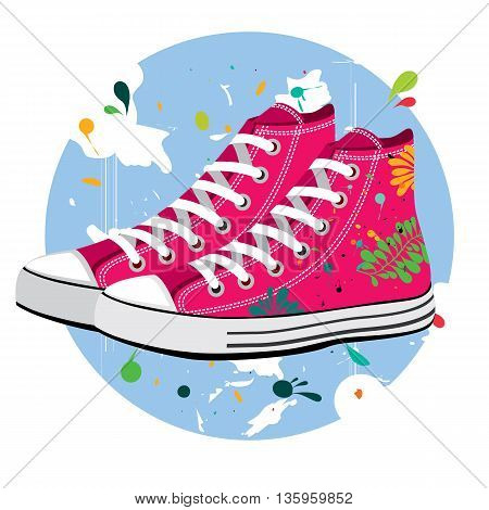 Old style sport sneakers shoe with tropics leaves. Vector illustration of a pair hipsters sneakers. Classic sneaker vector fully editable on scratched background, drops of paint