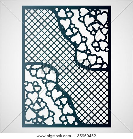 Openwork card with hearts. Laser cutting template for greeting cards envelopes wedding invitations.