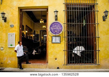 HAVANA - CUBA JUNE 20, 2016 - El Rum Rum restaurant on Empedrado street in the La Habana Vieja neighborhood is a popular dining spot with tourists serving Cuban and Spanish cuisine.