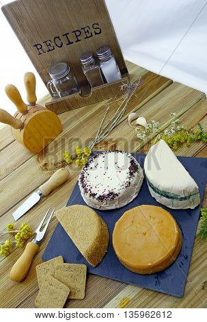 Vegan variety of cheeses; no dairy products