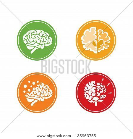 Set of flat vector Icons with human brain and concept of dementia and other mental health problems. Circle background.