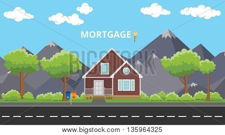 mortgage house home building with text and key vector graphic illustration