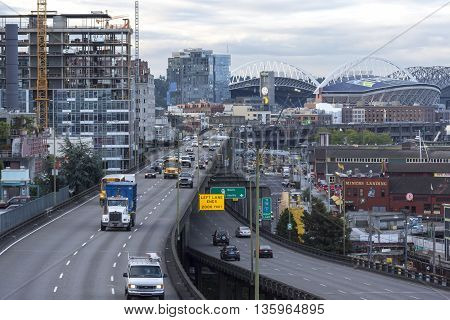 SEATTLE USA - JUNE 15 2016: State Route 99 runs along the Seattle seaboard as a double-decked highway system known as the Alaskan Way Viaduct. A project is currently underway to replace the settling viaduct with a tunnel.