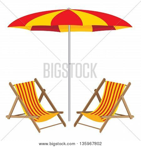 Beach umbrella with chair. Wooden Furniture and beach umbrella. Beach chair.