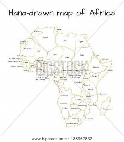 Africa hand-drawn sketch map isolated on white