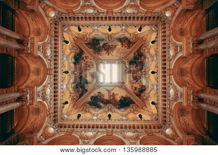 PARIS, FRANCE - MAY 13: Palais Garnier delicate ceiling view on May 13, 2015 in Paris. With the population of 2M, Paris is the capital and most-populous city of France