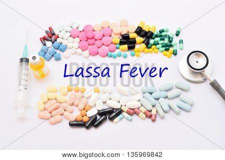 Drugs for Lassa virus treatment, medical concept