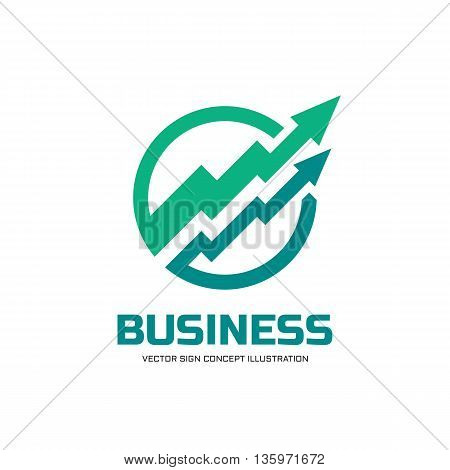 Business trend - vector logo concept illustration. Abstract arrows in circle. Finance growth graphic icon. Vector logo template. Design element.