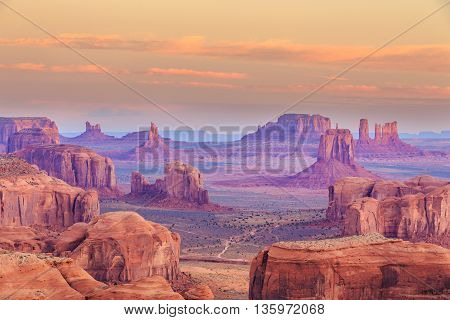 Hunts Mesa is a rock formation located in Monument Valley, south of the border between Utah and Arizona in the United States