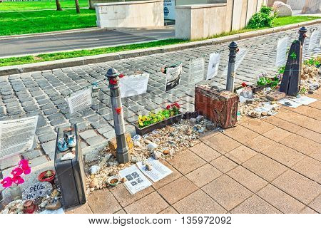 Budapest, Hungary-may 04, 2016: Liberty Square Budapest-memorial Dedicated To The Victims Of Nazi Oc