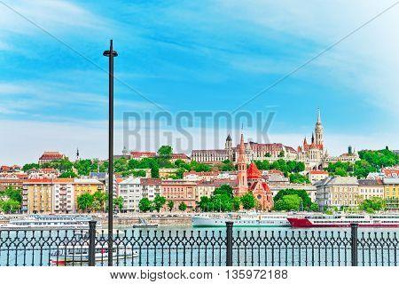 Church Of St. Matthias, Fisherman's Bastion, Calvinist Church Shore View's Of The Danube. Budapest.h
