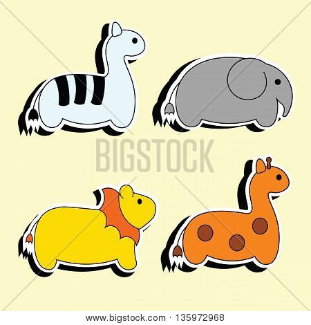 Safari animals cartoon stickers. Baby funny wild Safari animals. Simple vector Safari animals. Set of African animals.