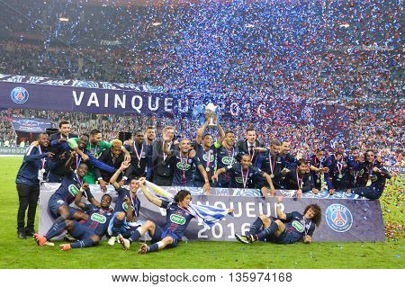 Paris Saint Germain football team in Paris at Stade de France. During the final match of Coupe de France. The game was against Marselle on the 21th of May 2016.