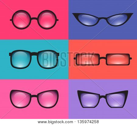 Set realistic various spectacles. Vector element for your creativity