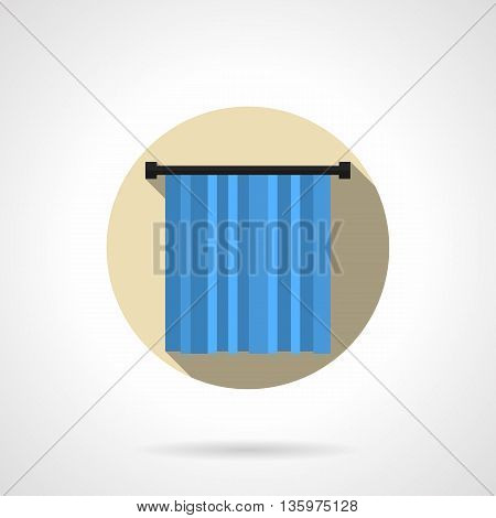 Abstract sign of textile decoration for show and presentation. Blue curtain on mount. Round flat color style vector icon.
