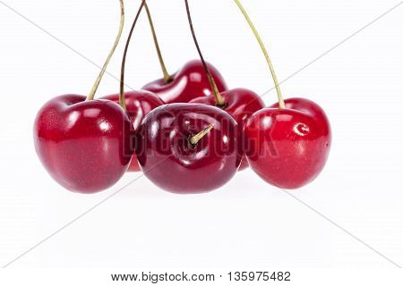 some fruits of red cherry isolated on white background.
