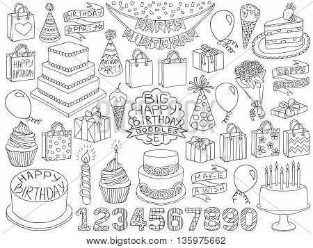 Birthday Doodles Set Vector Photo Free Trial Bigstock