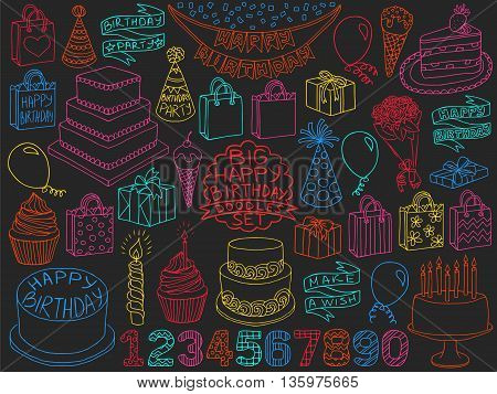 Birthday Doodles Set Anniversary Kid Symbols
