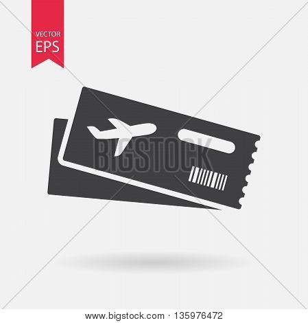 Air ticket vector icon. Modern Airline boarding pass tickets isolated on white Two airplane tickets. Travel symbol. Flat design style.
