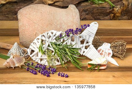 Herbs For Fish Dishes On A Wooden Table.