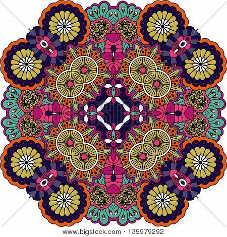 Colorful geometric designs on white background featuring floral motifs and symetrical elements