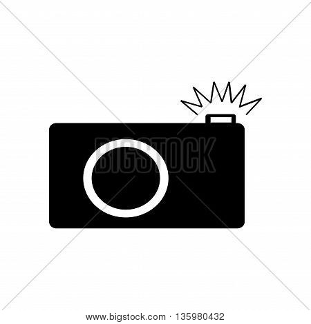 Photo camera icon. Photography sign. Photo camera vector symbol isolated on white background. Monochrome image. Modern art scoreboard. Flat design style. Stock vector illustration