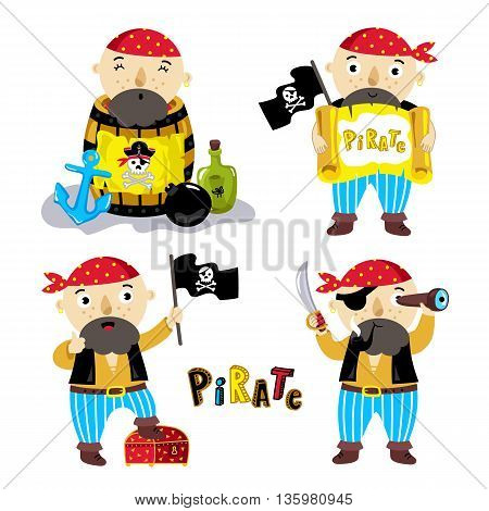 Pirate vector characters isolated set on white background. Pirate in barrel of gunpowder. Pirate with sign and a pirate flag. Pirate is flag in treasure chest. Pirate with saber. Jolly Roger flag. Pirate cartoon concept and pirate cute symbols.