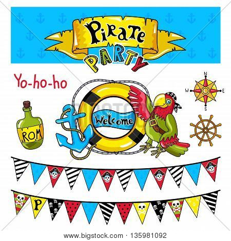 Pirate party elements for birthday. Steering wheel, bottle and other pirate symbols. Kids party elements. Pirate parrot and bottle of rum. Flags in pirate style signboard with inscription pirate. Pirate concept and pirate symbols.