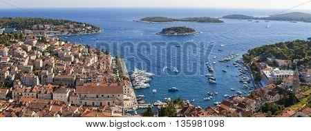 Panorama view of Hvar Town, Hvar Island, Croatia