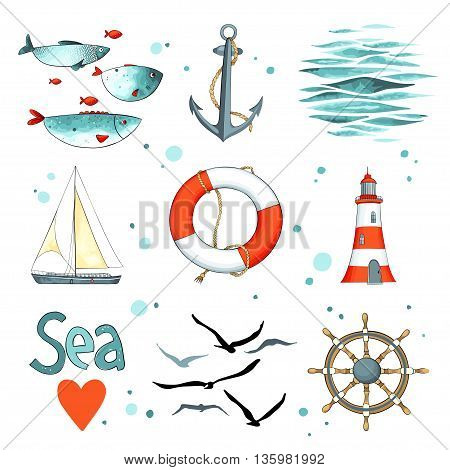 Sea set of 9 nautical elements isolated on white. There are lighthouse, seagulls, sail boat, life buoy, fish and anchor. Vector illustration. Imitation of watercolor