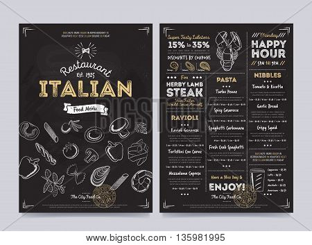 Italian cafe flyer. Hand drawings Italian food elements on chalkboard. Vintage menu on chalkboard. Menu card. Italian restaurant menu design on chalkboard. Italian cafe menu. Italian food menu template. Italian restaurant flyer vintage design vector illus