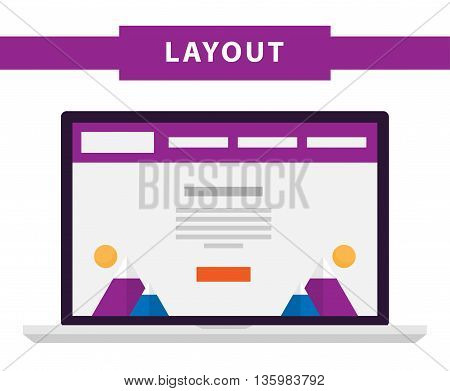 Set of simple flat website templates. Web wireframe vector. Ux interface page design. prototype example. Web layouts on laptop screen