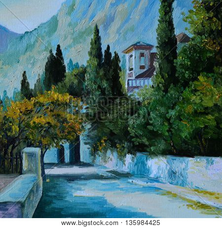 Oil Painting - cityin the mountains the road surrounded by trees ountry house performed in the style of impressionism colorful noon artwork; background