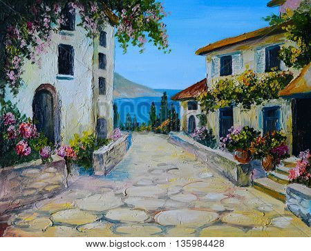 Oil painting on canvas of a beautiful houses near the sea abstract drawing wallpaper; freehand