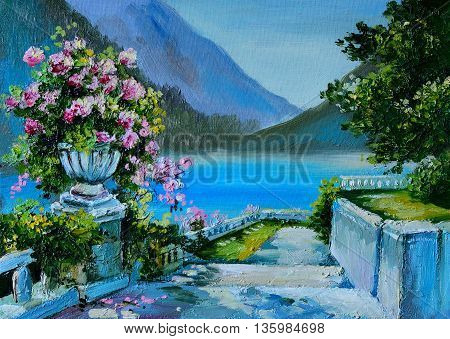 Oil Painting - stone embankment filled with flowers near the sea colorful noon colorful; sea