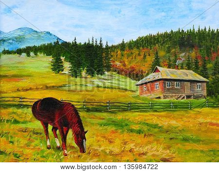 oil painting, landscape, horse, house, canvas, forest, watercolor