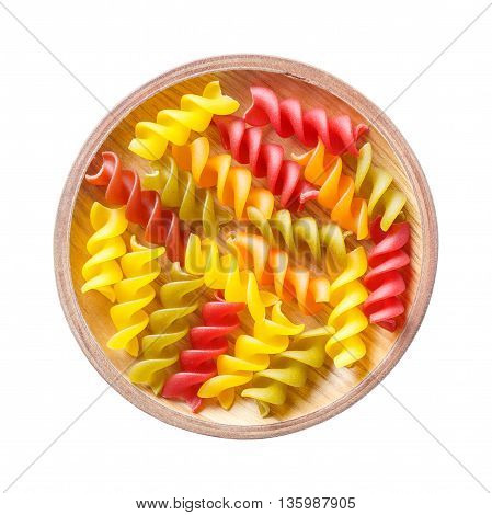 Close up gluten free corn and vegetable pasta spirals macaroni food for wheat allergy person