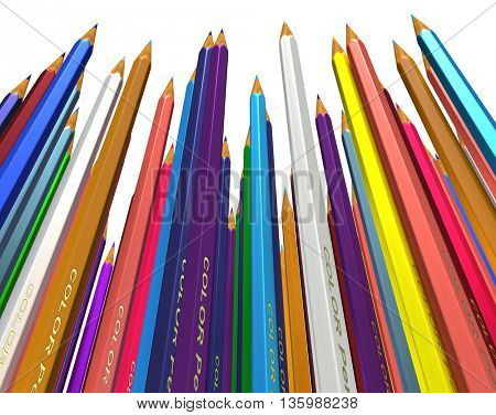 Large group of colored pencils. Colored pencils tightly pressed against each other. Colored pencils stand up tip. Isolated. 3d render.