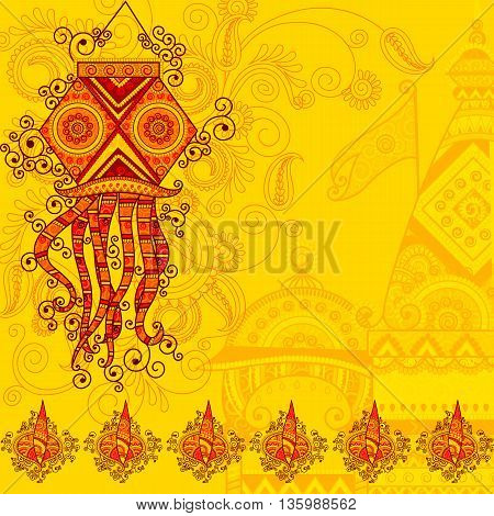 Vector design of Diwali hanging Lamp in Indian art style