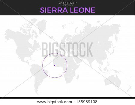 Republic of Sierra Leone location modern detailed vector map. All world countries without names. Vector template of beautiful flat grayscale map design with selected country and border location