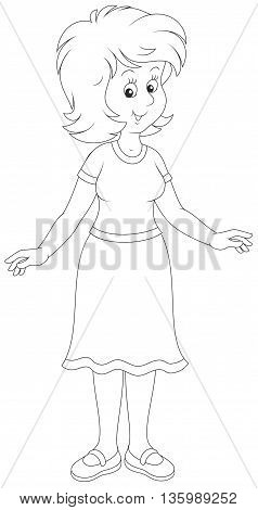 Cheerful young woman. Black and white vector illustration of a friendly smiling optimistic girl