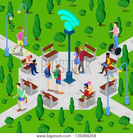 Isometric City Park with Wi-Fi Hotspot. Active People Using Wireless Internet Connection Outdoor. Vector illustration