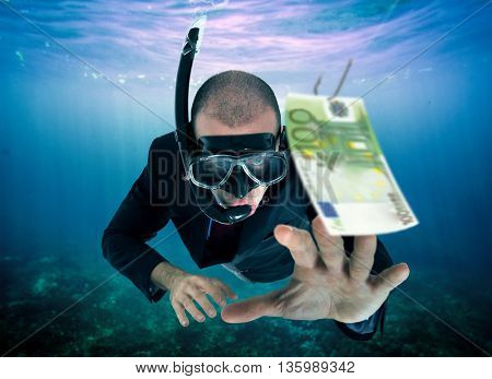 Businessman taking the bait