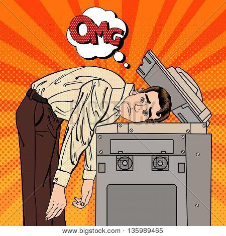 Businessman Stressed in Office. Stress at Work. Pop Art. Vector illustration