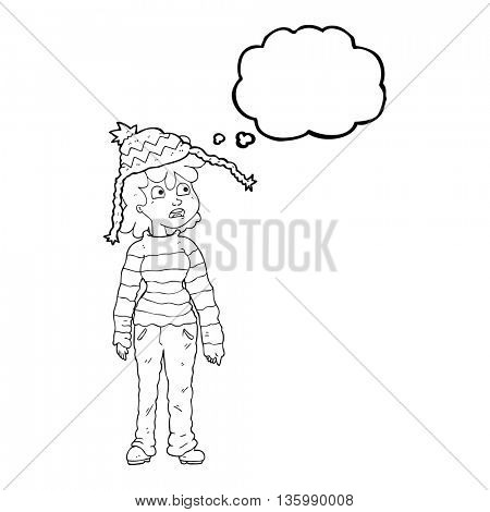 freehand drawn thought bubble cartoon teenager