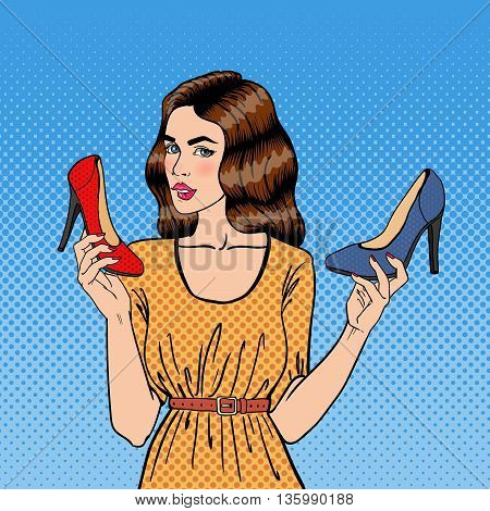 Beautiful Young Woman with Shoes. Girl Choosing Shoes, Pop Art. Vector illustration