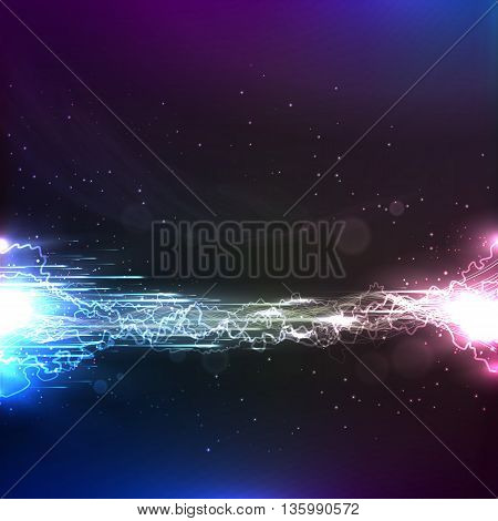 Electric energy space background. High voltage powerful current energy abstract background. Vector.