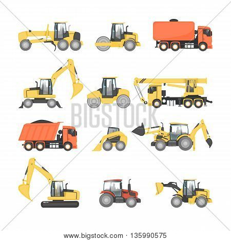 Set of heavy machinery for road repair. Tractor, truck, dump truck, grader, excavator, roller. Road construction equipment. Flat design vector illustrations.