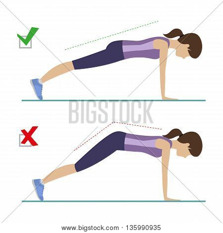 Set of right and wrong full plank position. Physical training for losing weight reduction in fat mass. Vector.