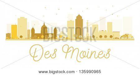 Des Moines City skyline golden silhouette. Vector illustration. Cityscape with landmarks